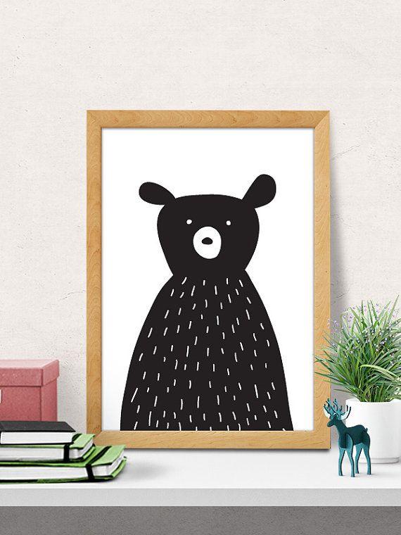 Cute Bear Paper Print   Bear print, Modern nursery decor ...