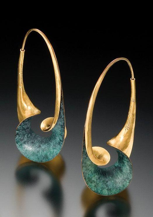 Ohrringe | Michael gut 18 Karat Gold und Bronze mit Patina Bewundern Sie die Struktur davon !!.
