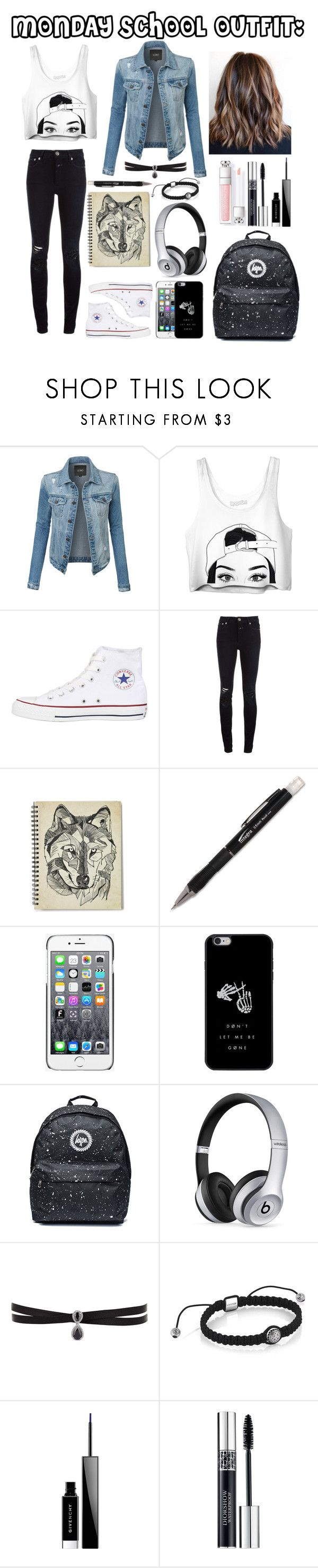 "1c8ff5f324bc43614d65080e9dfb0e47  beats by dre school outfits - ""Monday school outfit."" by yourlittledemonx3 on Polyvore featuring LE3NO, Conver..."