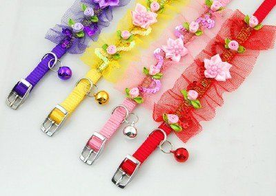 Lightahead® fancy lace Pet Collar with beads ,bell and flowers for your dog cat (Pink) « DogSiteWorld.com