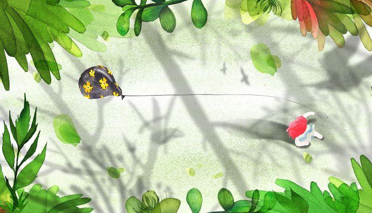 숲속,소녀,풍선,나뭇잎,꽃,빨간머리,일러스트,일러스트레이터,그림책,동화책,illustration