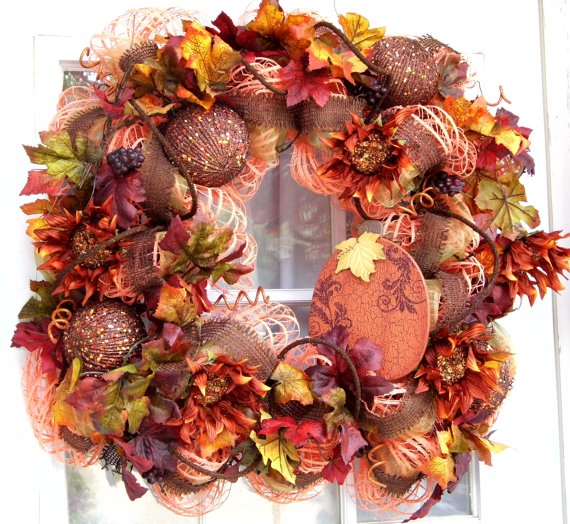 Fall Wreath Mesh Wreaths Leaves by HolidaysAreSpecial on