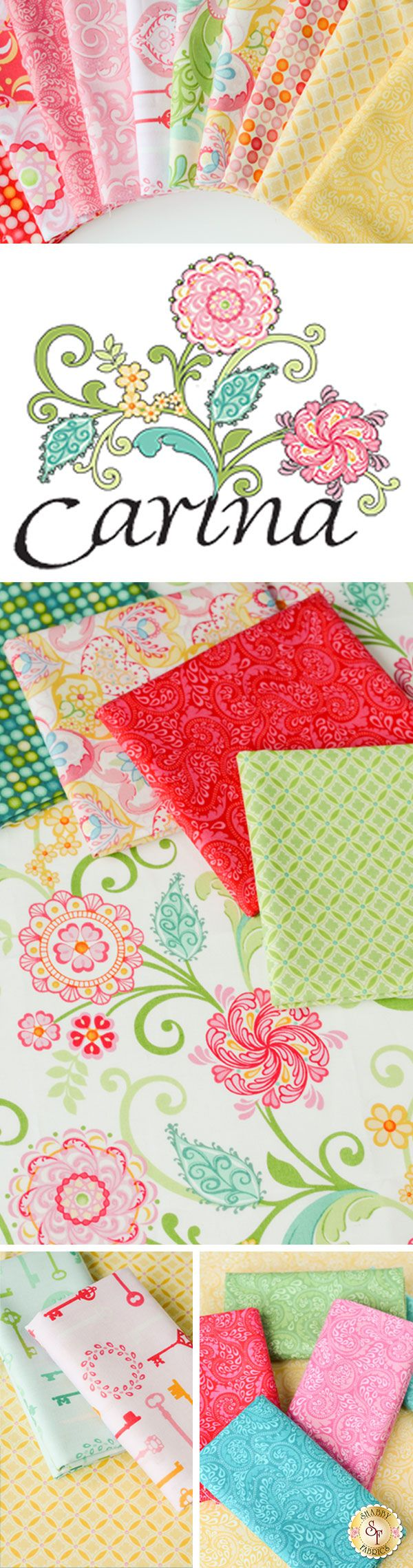 Carina by Amanda Murphy for Benartex Fabrics is a floral fabric collection available at Shabby Fabrics