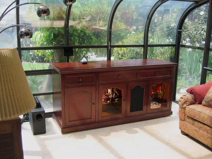 cherry birch motorized custom tv lift cabinet