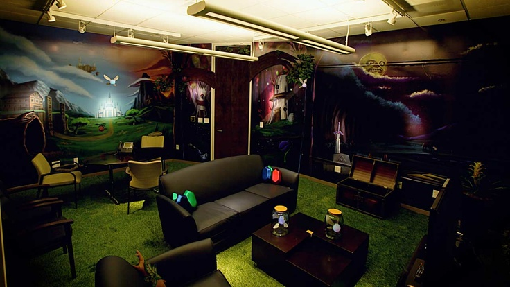 The Zelda Room, complete with rupee pillows and fairies trapped in glass jars
