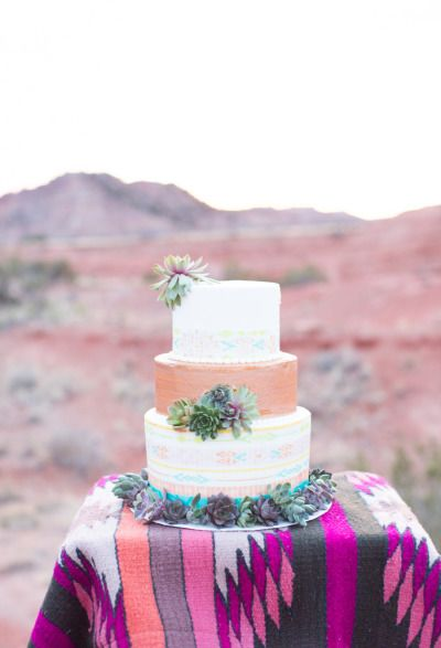 Aztec cake: http://www.stylemepretty.com/texas-weddings/2014/10/03/southwestern-inspiration-shoot-in-texas-at-palo-duro-canyon-state-park/ | Photography: Mallory Morgan - http://www.mallorymorganphotography.com/