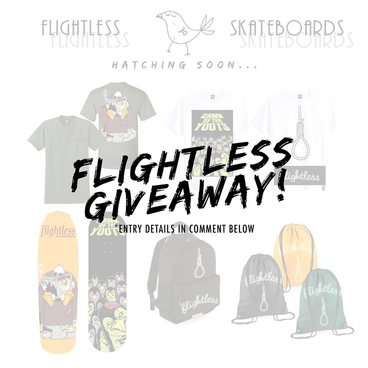 We're giving one lucky winner the chance to WIN a deck, tee & gymsac of their choice before release date! 🌟 👉 Simply repost this image tagging @flightlessskateboards & #flightlessskateboards to enter 🐥  NB - Entrants must #follow @flightlessskateboards to be valid for entry. Winner will be announced before the TBC release date. Good luck!  #goskate #goskateday #skateboard #skateboarding #skate #skater #skaters #skateboards #flightlessskateboards #competition #giveaway