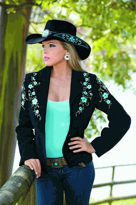 ♥ Cowgirl Blue Ridge Leather Jacket - Black  LOVE the hat....AND the jacket!