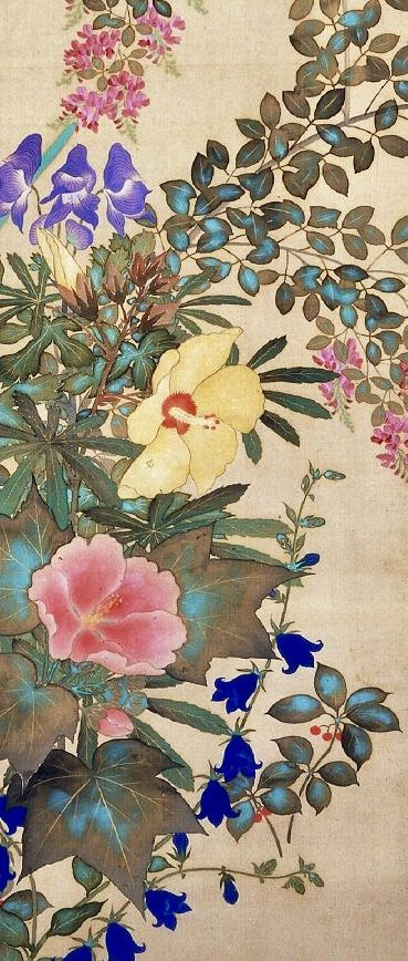 Detail. 鈴木其一 Flowers and grasses of four seasons. One of a pair of Japanese hanging-scrolls. Flowers of autumn and winter in left scroll: bush-clover, narcissus, hibiscus, miniature chrysanthemum and bell-flowers. Suzuki Kiitsu. Rinpa School. Edo Period. British Museum.
