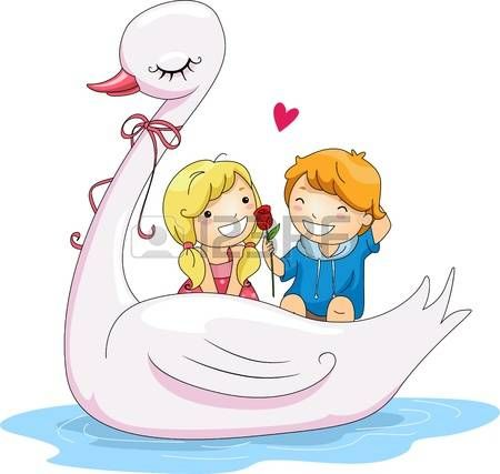 Illustration of Kids Riding a Swan Boat