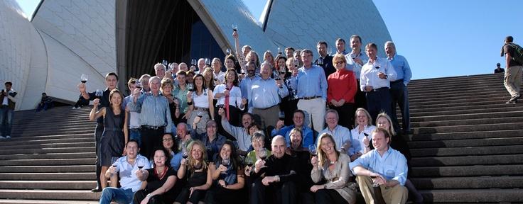 The big AFFW family celebrating at the Opera house in Sydney - www.australiasfirstfamiliesofwine.com