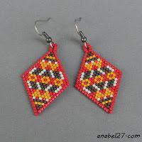Esquemas pendientes-rombos - Mosaico de ladrillos / - gratis patrones pendientes de peyote