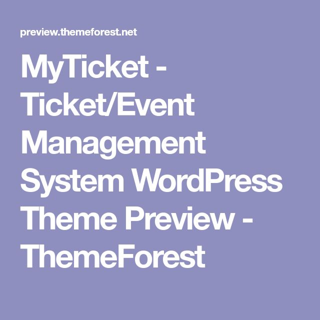 MyTicket - Ticket/Event Management System WordPress Theme Preview - ThemeForest