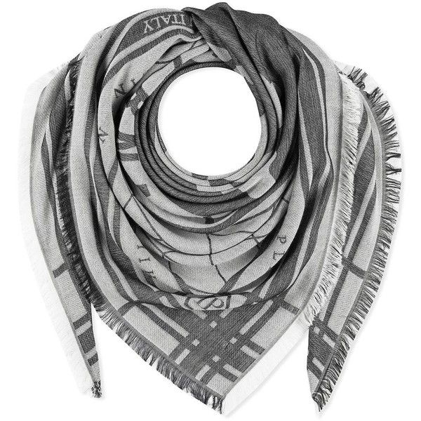 Black White Grey Printed Silk Modal Kurt Square Scarf ($310) ❤ liked on Polyvore featuring men's fashion, men's accessories, men's scarves, mens skull scarves and mens silk scarves