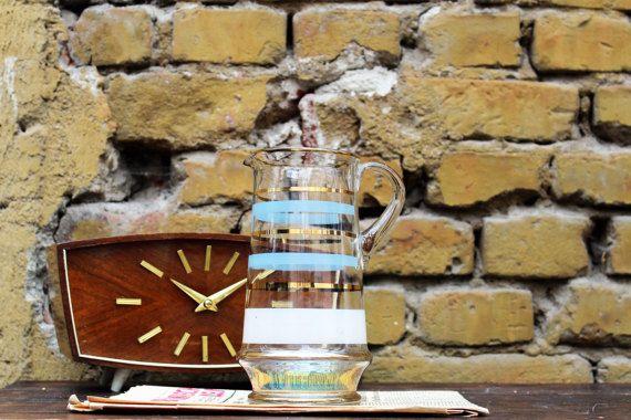 Glass Jug Vintage Jug Water Jug Gold Rimmed Large Jug