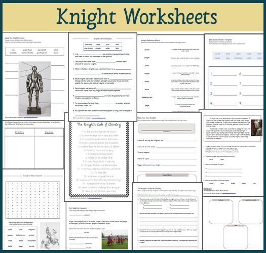 Knight Worksheet Packet for 1st-3rd graders | My Pins | Teaching