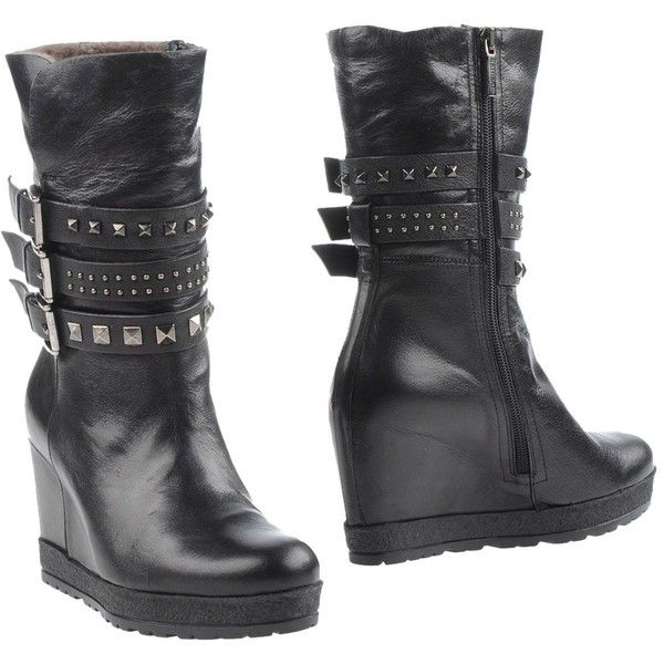 Botticelli Limited Ankle Boots ($355) ❤ liked on Polyvore featuring shoes, boots, ankle booties, black, wedge ankle boots, black leather ankle booties, black leather bootie, black booties and wedge bootie