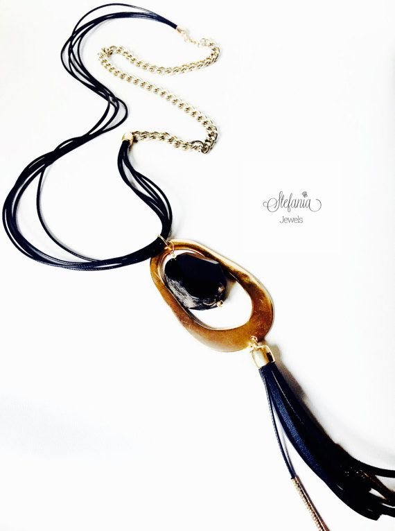 Long leather necklace with semiprecious by StefaniaJewelsShop