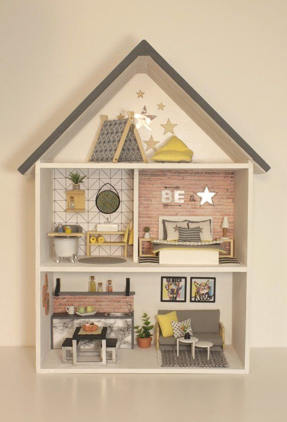 Dollhouse, wooden, handmade, modern, miniature 1:12 scale