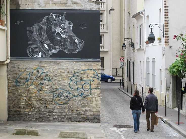 Street Art : Mural representing a hippopotamus performed in chalk by the artist Philippe Baudelocque in Paris. © Brin d'Amour