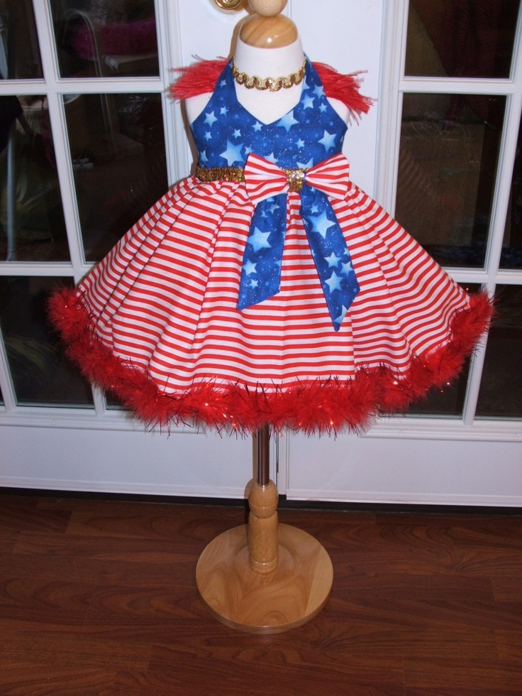 Very cute patriotic pageant wear, you could make it better by adding some rhinestones.