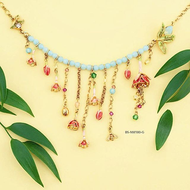 Fuchsia Statement Short Necklace || SS16  #BillSkinner #fuchsia #swarovski #handpainted #enameljewellery