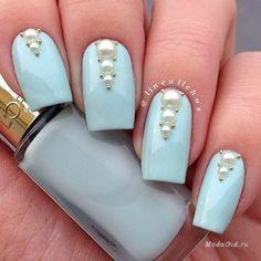 Бульонки на ногтях, Голубой маникюр, Голубые ногти, Красивый маникюр 2016, Лазурный маникюр, Маникюр весна 2016, Маникюр лето 2016, Маникюр на длинные ногти