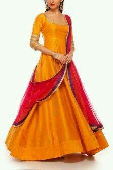 Mustard yellow cotton silk kurta