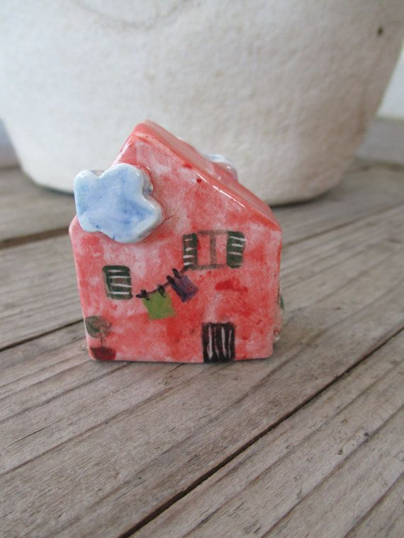 Little Red Ceramic House,Small Clay House,Cute Small House,Red House,Tiny House,Miniature House,Pottery House,Small details,Small village