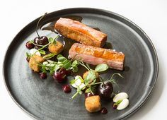 Crispy Duck Breast and Leg with Cherries Recipe - Great British Chefs