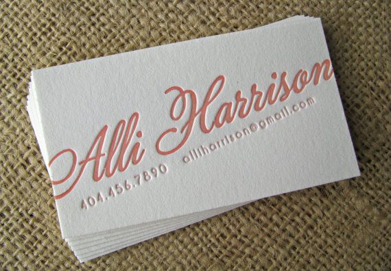 Here we are with the letterpress again... but I like the angled type on the card. Emphasis on name. Maybe an image on the other side?
