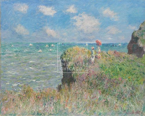 Claude Monet, French, Cliff Walk at Pourville, 1882, Oil on canvas, Mr. and Mrs. Lewis Larned Coburn Memorial Collection, The Art Institute of Chicago (Image No. 00000175-01) Painting, Impressionism
