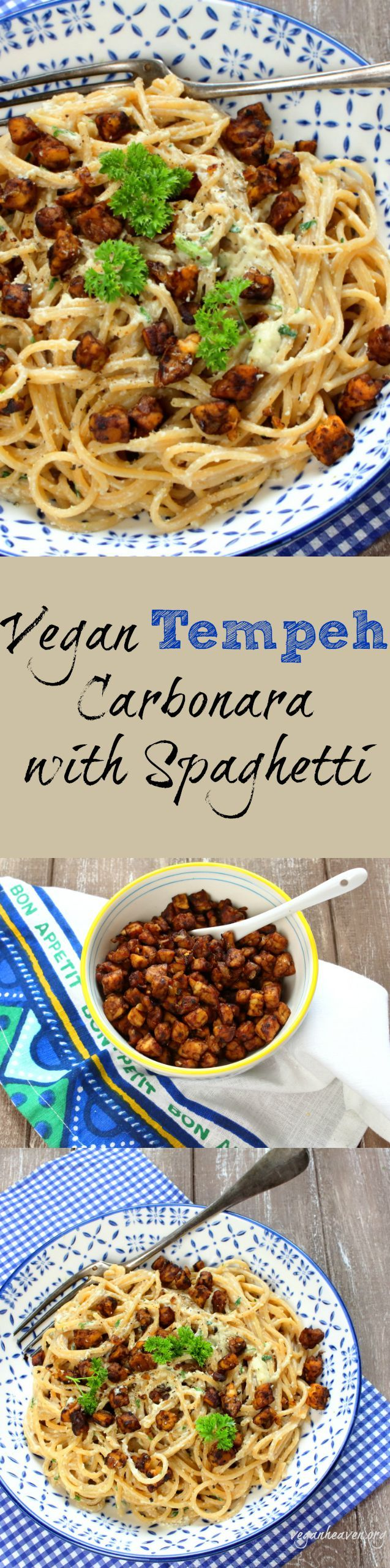 Vegan Tempeh Carbonara with Spaghetti. Super creamy and crispy!  Check out the recipe at veganheaven.org! #vegan #healthy #tempeh