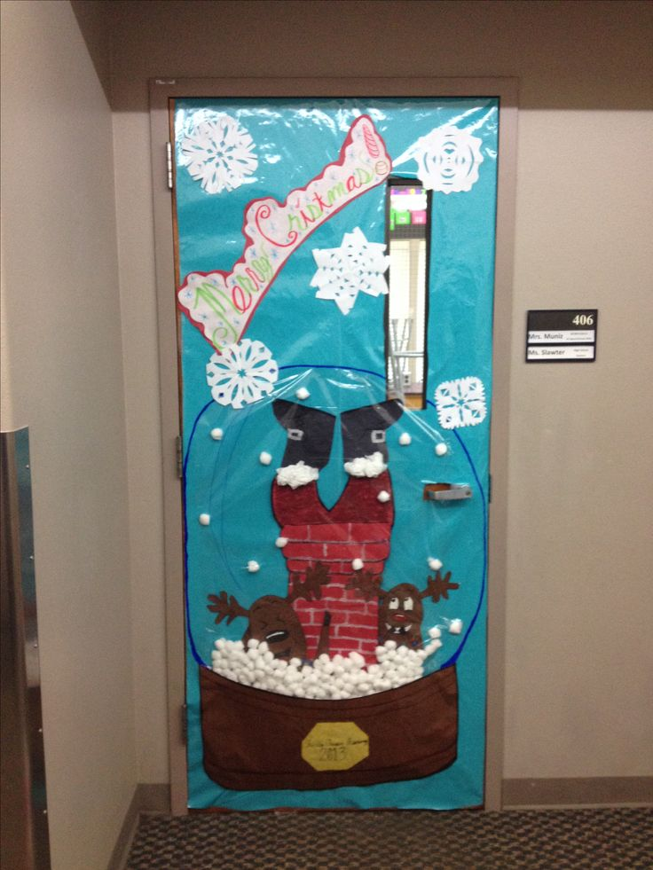 Christmas door decoration for a contest. :) snow globe ...