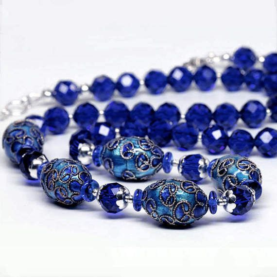 Cobalt Blue Beaded Necklace Cloisonne Necklace by ElandraDesigns
