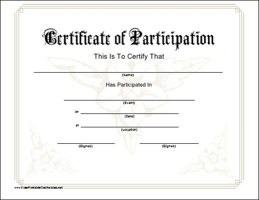 A printable certificate of participation with a subtle for Free templates for certificates of participation