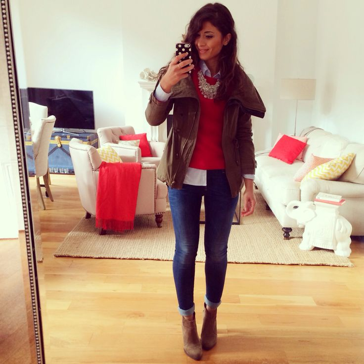 Mimi ikonn red sweater military jacket cute outfit look of the