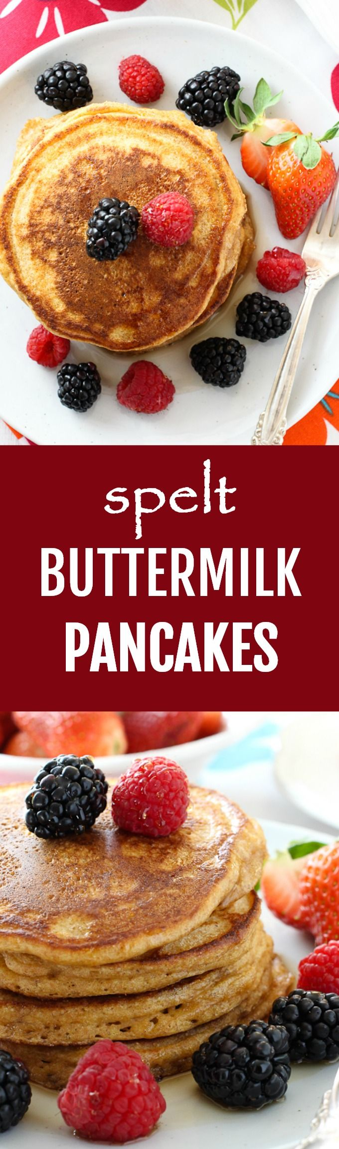 A simple recipe for buttermilk spelt pancakes. These pancakes taste absolutely delicious served with some maple syrup and berries. Add a tablespoon of your favorite nut butter to keep the meal balanced.