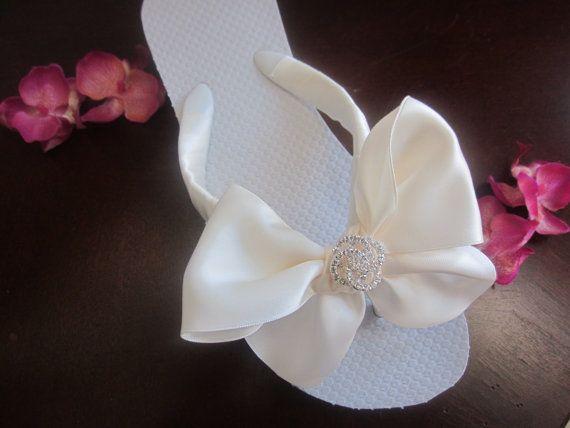 Rhinestone LoveKnot Flip Flops/Wedges Wedding by rocktheflops, $35.00