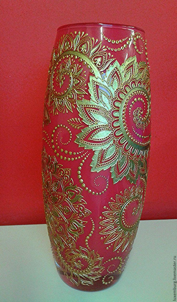 Купить ваза для цветов - ярко-красный, красный с золотом, золото, орнамент, ваза для цветов