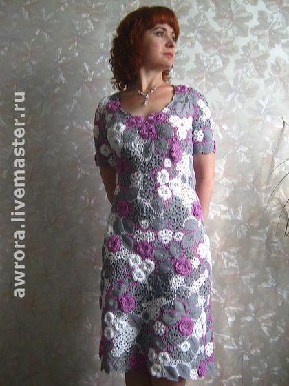 """Платье """"Виргиния"""" - цветочный,ирландское кружево,цветочные мотивы,крючок"""