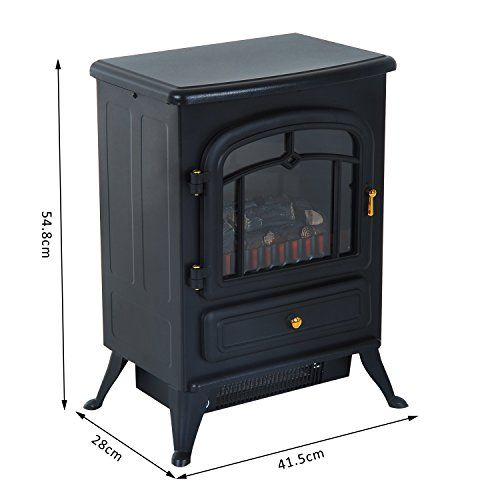 Homcom Freestanding Electric Fire Place Indoor Heater Glass View