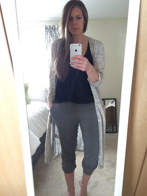 Long cardigan + grey joggers