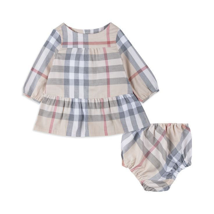 BURBERRY Baby Girls 'Kloey' Dress & Bloomers - Beige Baby long sleeve dress • Soft woven cotton • Reverse button fastening • Round neckline • Signature checked pattern • Matching bloomers • Elasticated waist and legs • Material: 100% Cotton