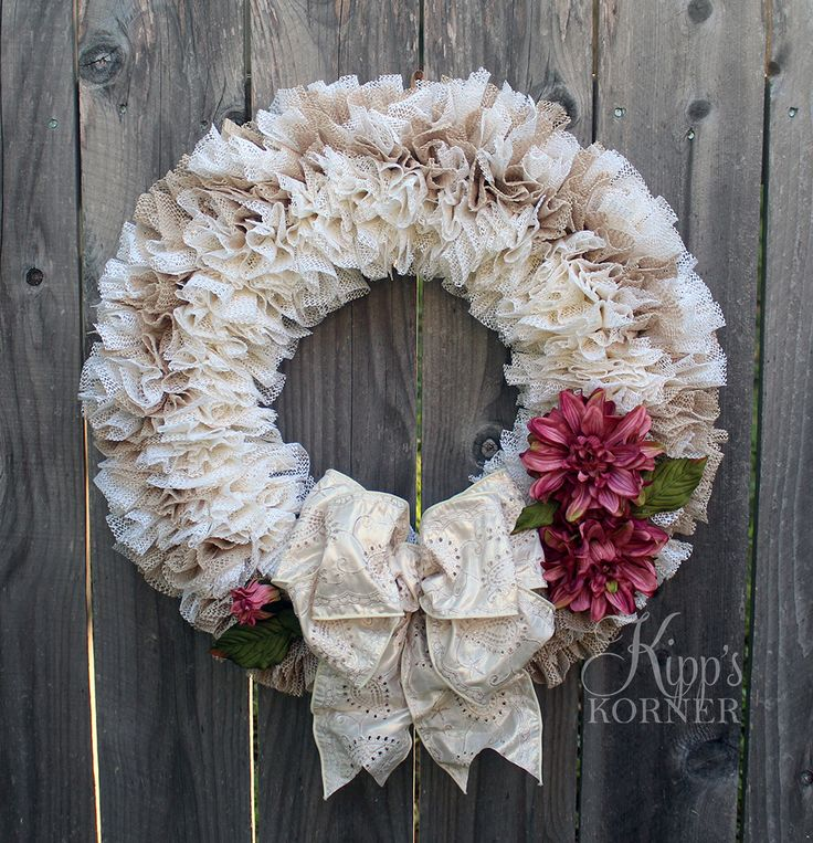 Romantic Victorian Style Cream Wreath for Front