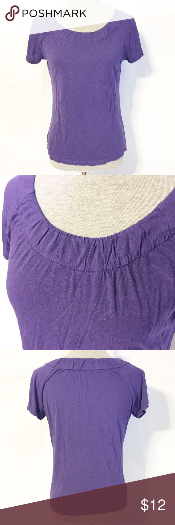 """MICHAEL Michael Kors Ruffle Neck Tshirt Medium Great basic Tshirt from Michael Kors with a lovely detailed neckline. Pretty purple color, this Tshirt is very soft and comfy. Has a very small pinhole (pictured) but in otherwise great condition. Previously worn. Approximate Lay Flat Measurements are: 23"""" Long from shoulder to hem, 18"""" Bust laying flat. Size Medium from MICHAEL Michael Kors MICHAEL Michael Kors Tops"""