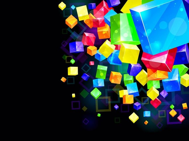 Colorful Cubes Background vector free