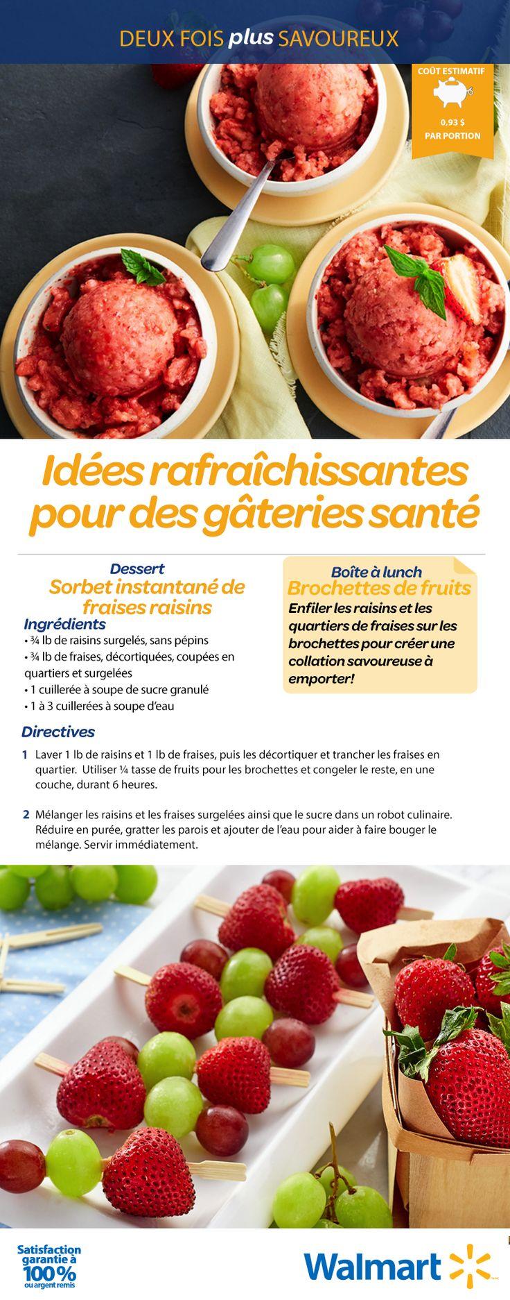 Les raisins et les fraises fraîches ajoutent une délicieuse touche sucrée à ce sorbet. En plus de divertir vos enfants, ce dessert se transforme rapidement en brochettes de fruits faciles à manger pour les boîtes à lunch du lendemain. #RecetteRentréeDesClasses