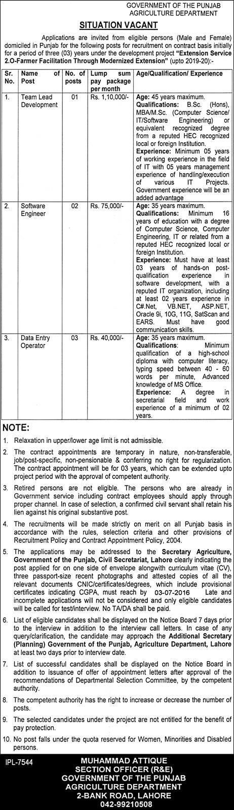Government of the Punjab Agriculture Department JOB