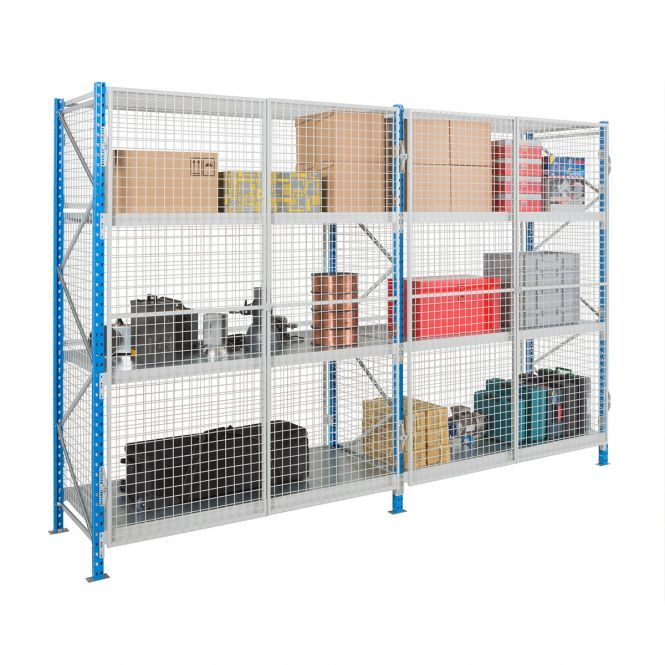 Secure Mesh Longspan Shelving with Chipboard Levels  Heavy Duty, longer-length shelving surrounded by mesh panels with lockable mesh doors. Offering a large storage space, which can be secured using a padlock (not included). Great for bulk storage of valuable or hazardous goods which are required to be securely stored behind lock and key.